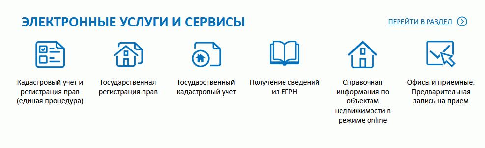 Услуги и сервисы на сайте Росреестра