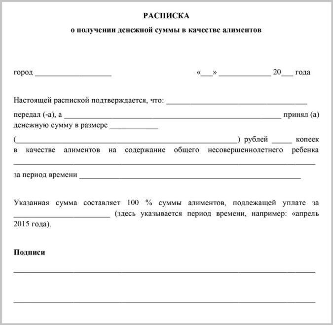 Образец расписки о передаче денежных средств по соглашению сторон